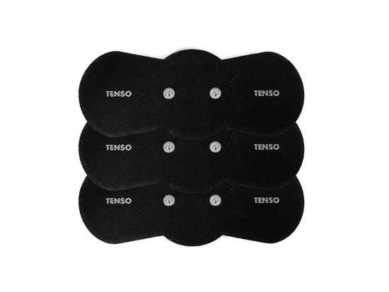 Billede af bagsiden på 3 stk. sorte Tenso pads.