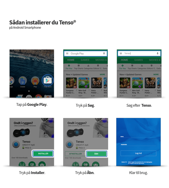 Guide til installation af Tenso på Google Play